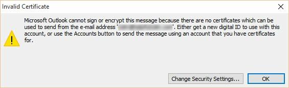 Digital Signature - Outlook Invalid Certificate Notice