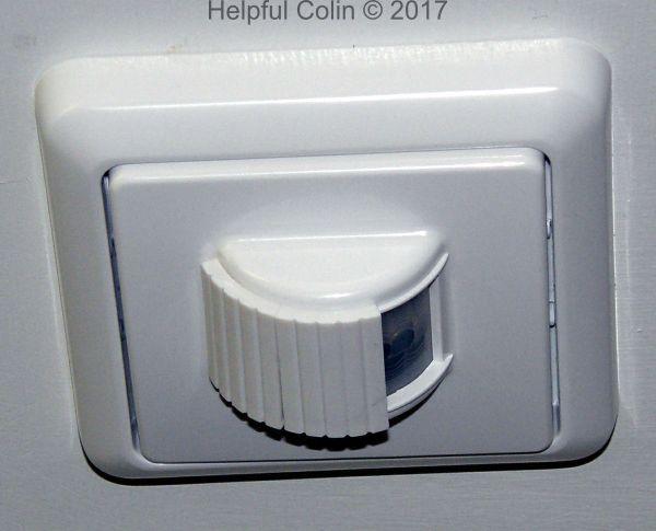 Condensation free bathroom mirror. Lightwave PIR Movement Sensor affixed to ceiling.