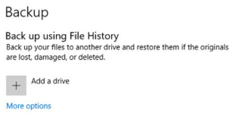 Backing Up Using Windows 10 File History