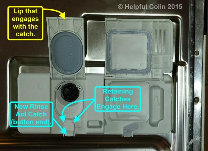 how to close dishwasher detergent holder clip broken