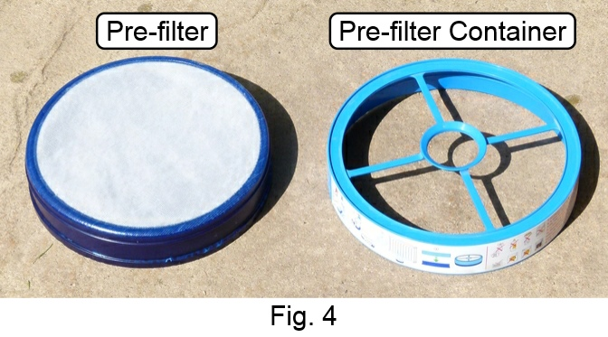 pre motor filter and container separated