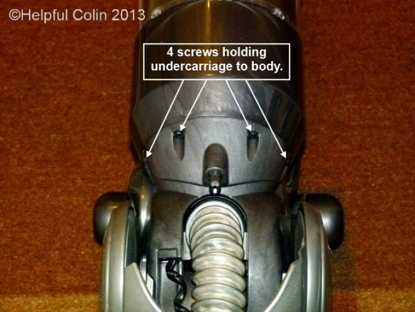 Screws Holding the Dyson Slim DC18 Undercarriage to the Body.