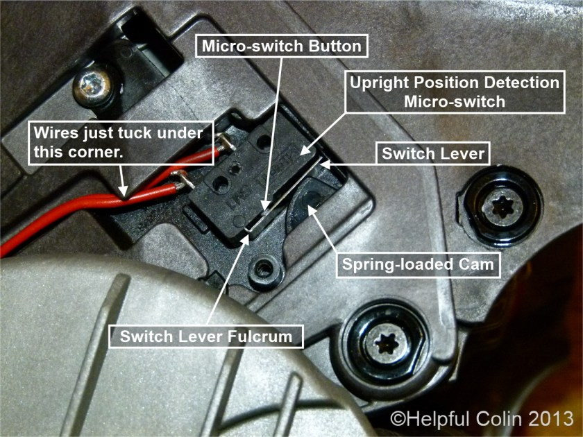 Dyson Slim DC18 Upright Position Detection Micro-switch.