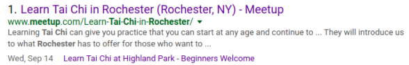 Tai Chi Meetup Search Page Results