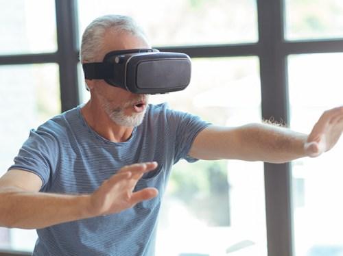 Man using a virtual reality set