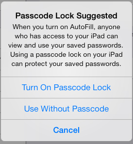 AutoFill Password Safari iOS 7