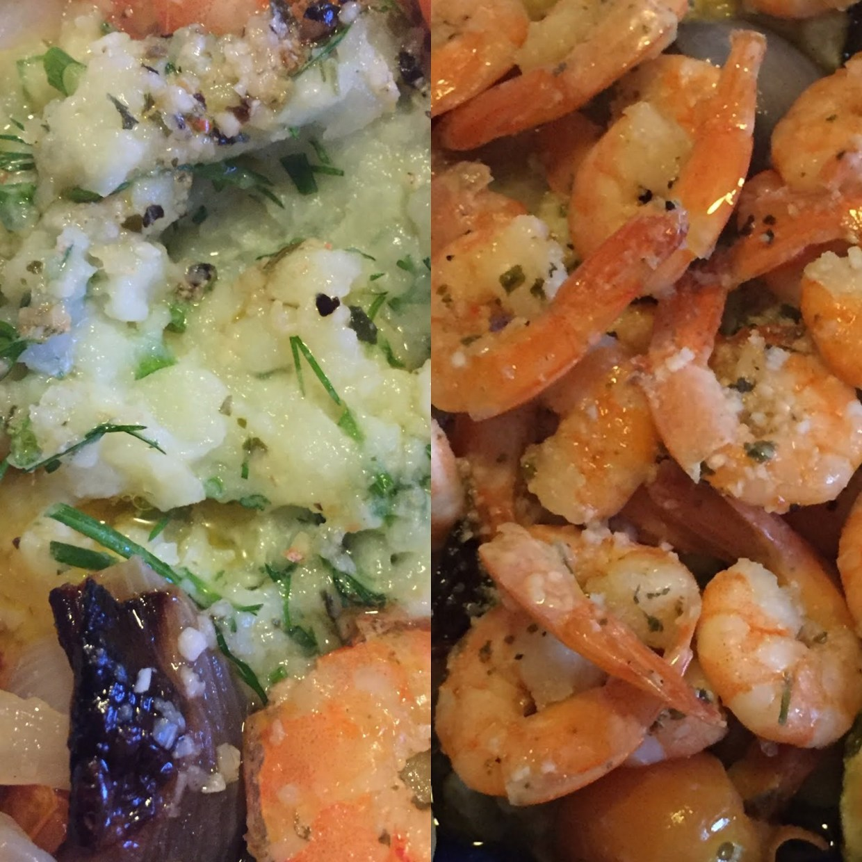 Garlic prawns, Mash & Baked Vegetables
