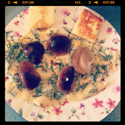 Dill Omelette with Mushrooms & Haloumi