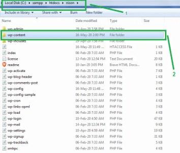 navigate to wp-content folder