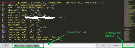 edit localhost database