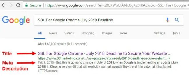 google serp title and mete description