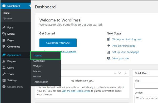 Select appearance to add a wordpress theme