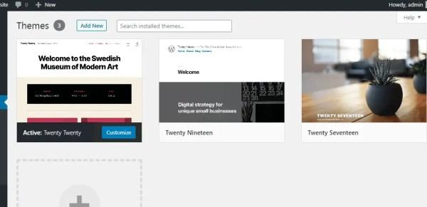 Select an already installed wordpress theme