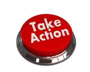 """call to action A red button with the words """"Take action"""" on it"""