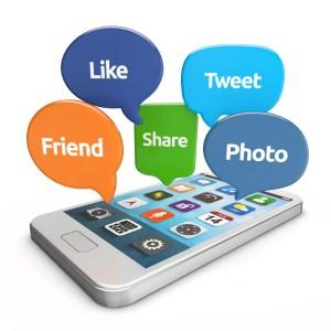 social media share smartphone with social media bubbles (like, tweet, friend, share