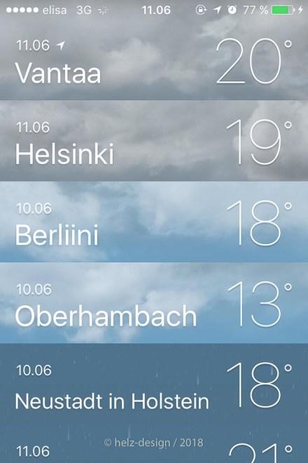 Anzeige der Temperaturapp in Vantaa