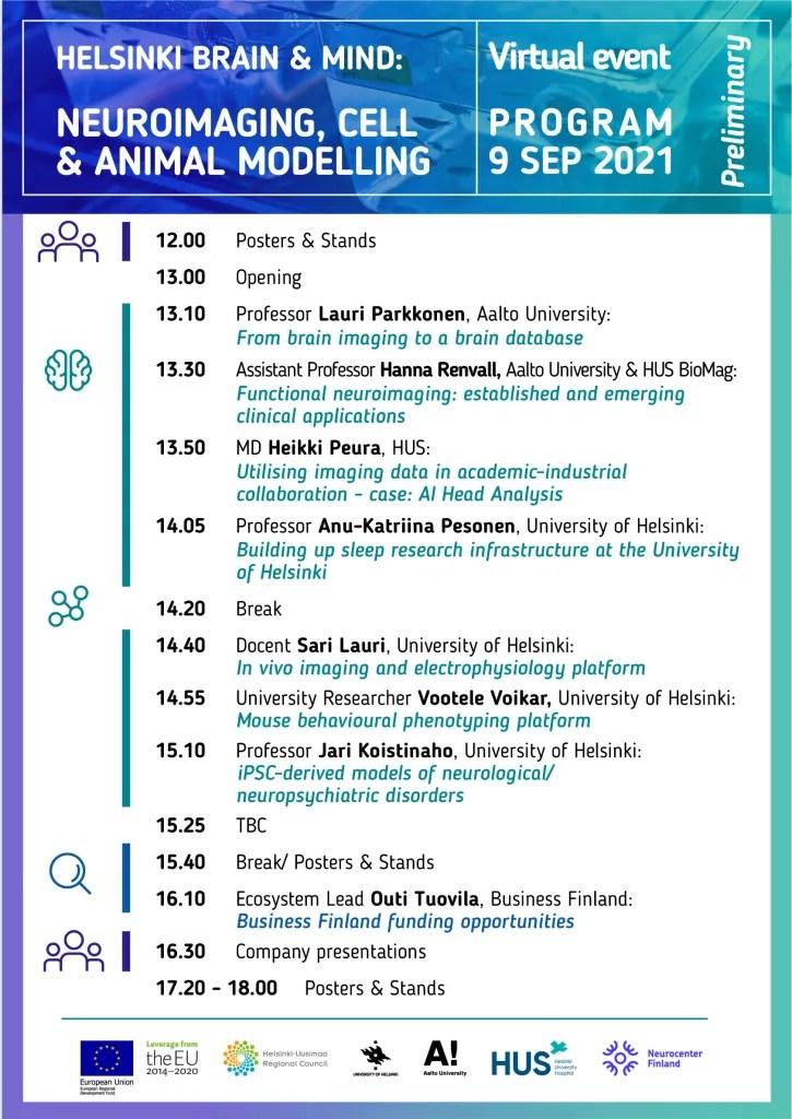 Helsinki brain & mind virtual event program.