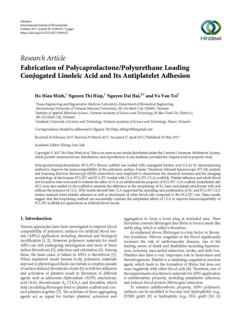 Fabrication of Polycaprolactone Polyurethane Loading CLA