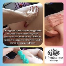 Un trigger point se traite en appliquant une pression assez importante soit par un massage du bout des doigts (mais c'est assez difficile), soit à l'aide d'une balle en caoutchouc et d'une surface rigide (un mur), soit à l'aide d'un rouleau de massage trigger point (un rouleau de massage pour le dos avec une surface crénelée destinée à imiter la sensation d'une main pour un massage plus efficace).