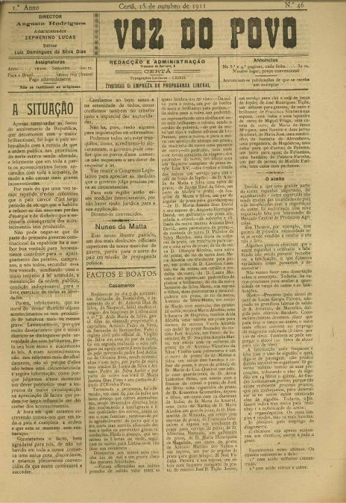 Voz Do Povo Nº46 15 10 1911 P
