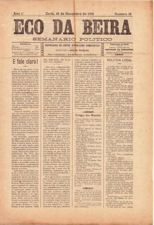 Eco Da Beira Nº14 15 11 1914 P