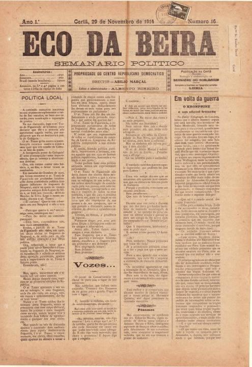 Eco Da Beira Nº16 29 11 1914 P