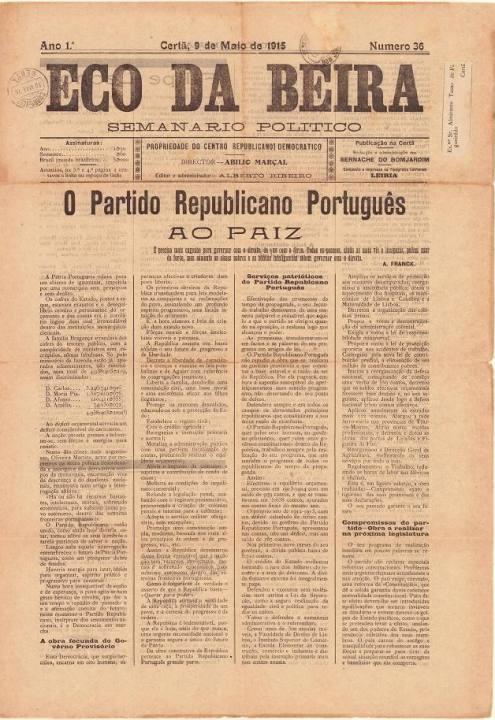 Eco Da Beira Nº36 09 05 1915 P