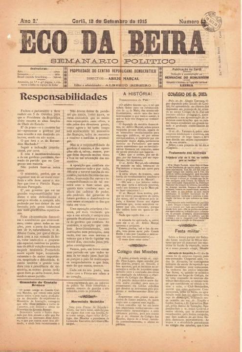 Eco Da Beira Nº52 12 09 1915 P