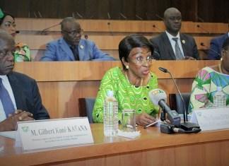 La ministre de la femme, de la famille et de l'enfant, Ly Ramata, et les membres de la commissions des affaires sociales lors des travaux ce mardi à l'hémicycle ivoirien © Sita / HA