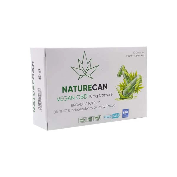 VEGAN CBD CAPSULES BOX ON WHITE BACKGROUND