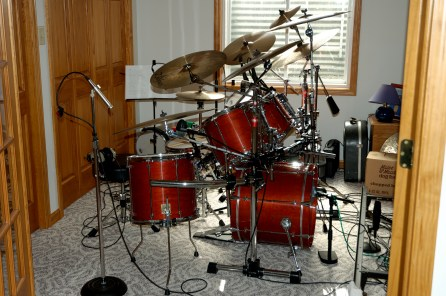 Gary's kit in the drum room