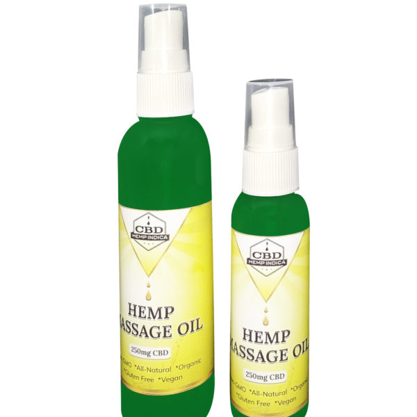 Hempindica Hemp Massage Oil 250mg CBD    made with Coconut, Hemp Seed,  Black Seed and Peppermint Oils!