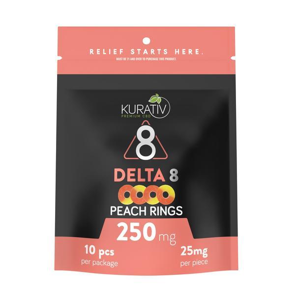 Kurativ Peach Rings Delta 8 Gummies 250mg