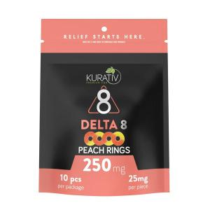 Kurativ Peach Rings Delta 8 Gummies 250mg