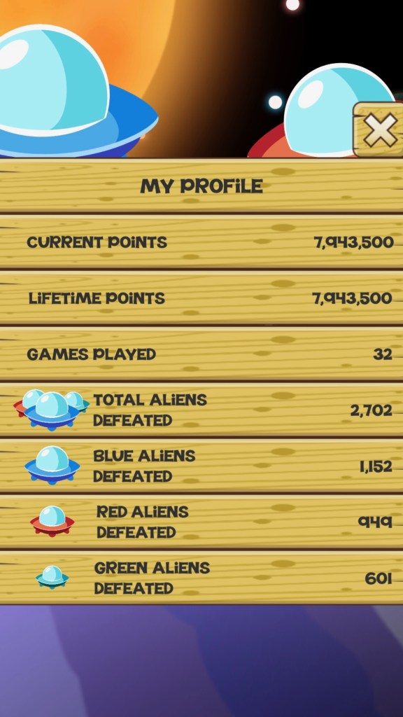 Stupid Aliens - Profile Screen