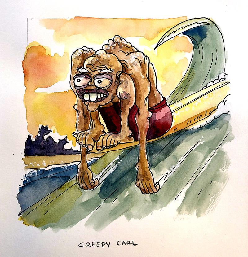 Creepy Carl watercolor painting