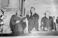 Political event. Theodore McKeldin being sworn in as mayor of Baltimore or governor of Maryland. circa 1951. Paul Henderson, HEN.00.B1-079.