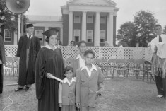 University of Maryland School of Law graduate Juanita Jackson Mitchell in cap and gown with her sons Clarence M. Mitchell III, Keiffer Mitchell, and Michael Bowen Mitchell. College Park, Maryland. Paul Henderson, circa 1950. Maryland Historical Society, HEN.00.B1-043.