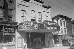 Exterior view of Carver Playhouse, 1429 Pennsylvania Avenue, Baltimore, circa 1953. Paul Henderson, HEN.00.B1-034.