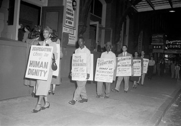 Men and women protesting Ford's Theatre Jim Crow admission policy. Paul Henderson, ca. 1951. MdHS, HEN.00.A2-150.