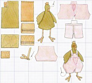 Lukisan corak untuk menjahit ayam jantan