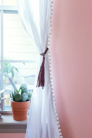 Pom Pom White Curtains