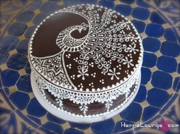 Anniversary cake with peacock motif
