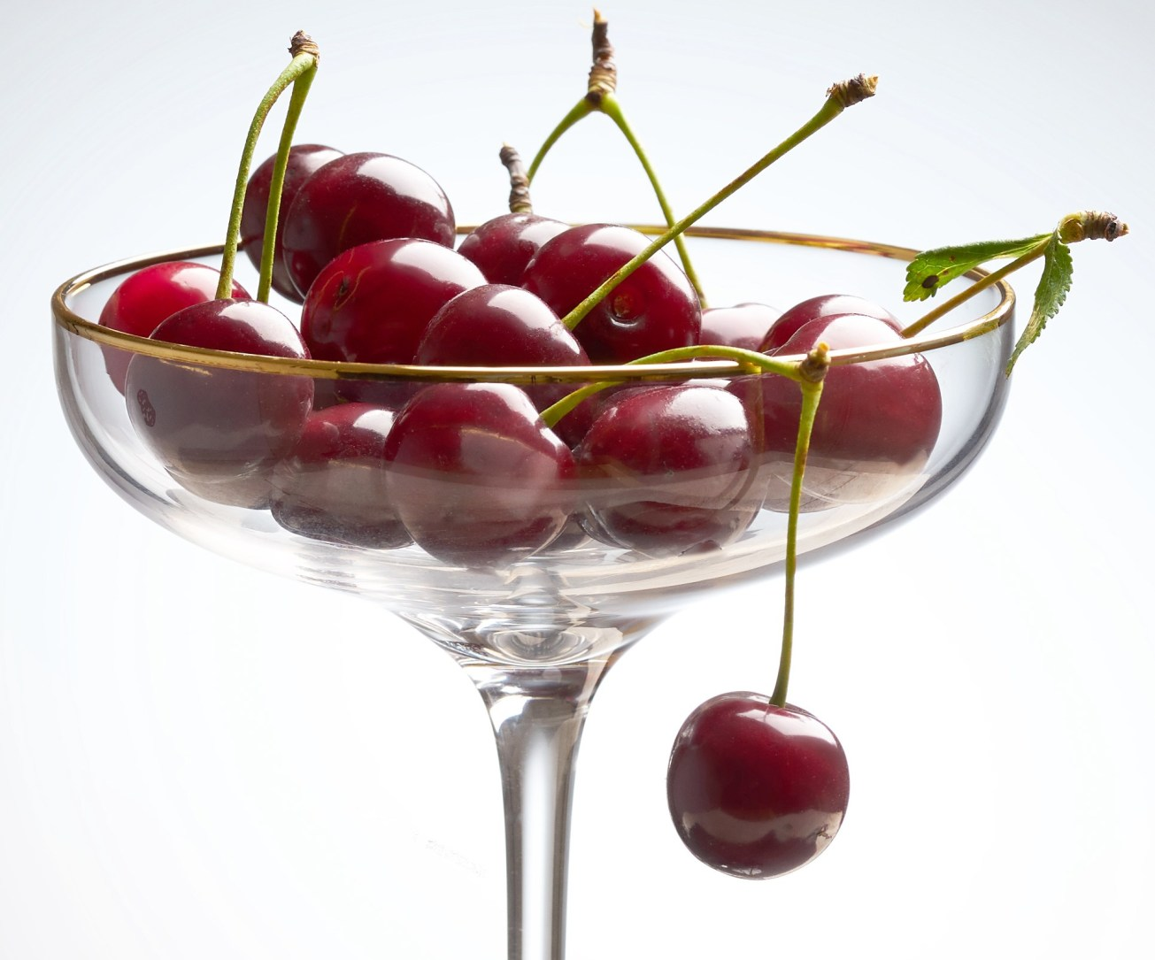 Food photography cherries in a champagne glass