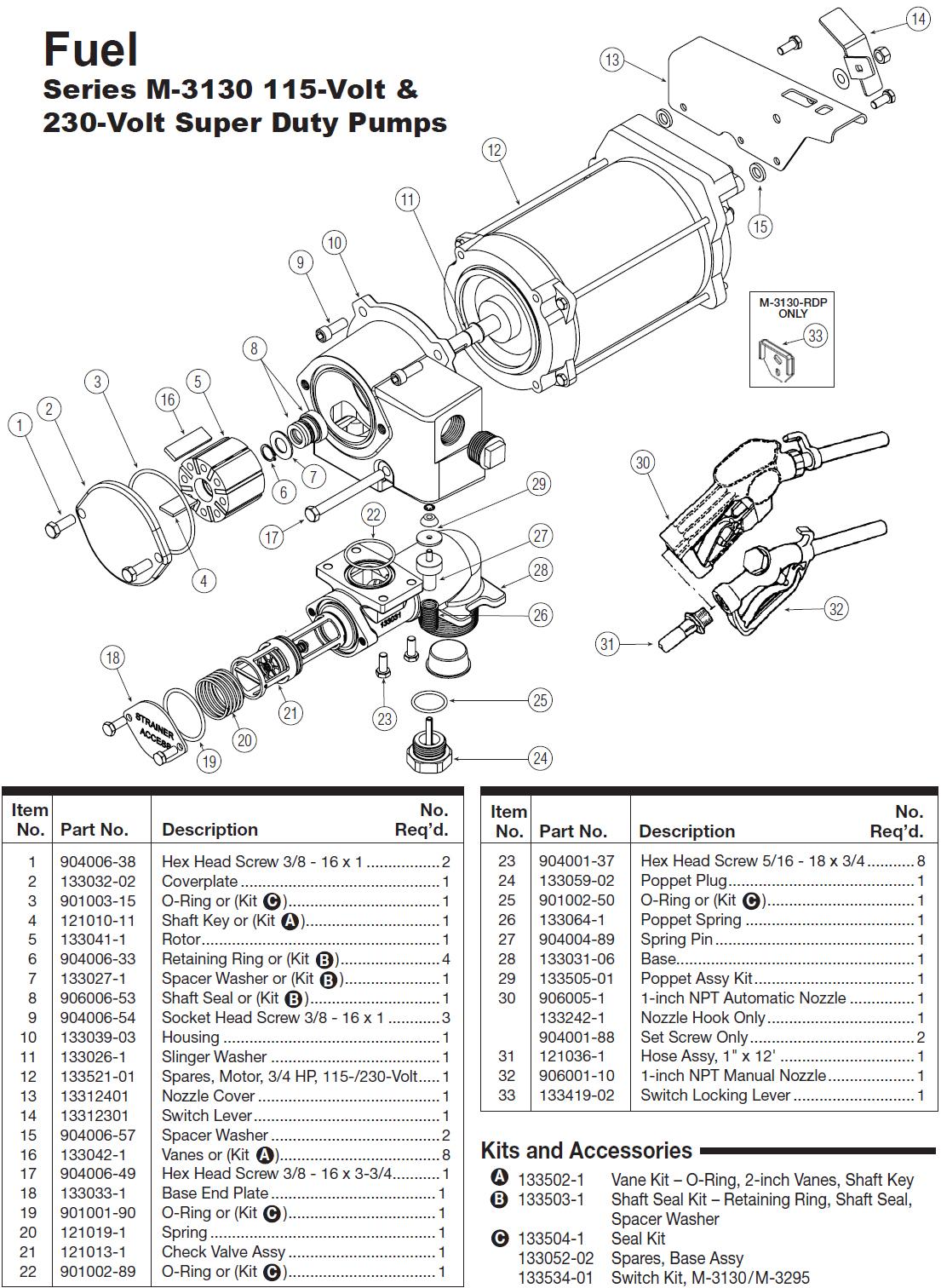 Gpi M Rdp 115v Remote Dispenser Fuel Transfer Pump
