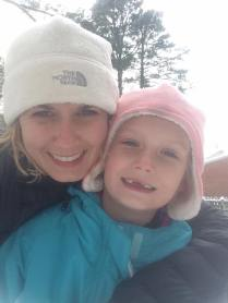 Mrs. Kwarta and her daughter, Madelyn pose for a selfie in the snow.