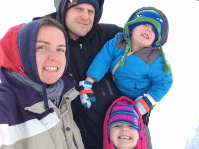 Mrs. Schools and her family out for snow fun!