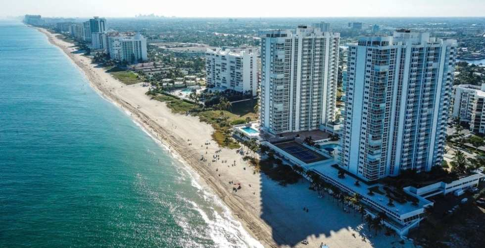 Aerial View Of A Beachside City In South Florida