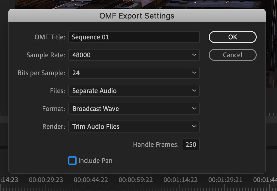 Exporting an OMF from Adobe Premiere Pro CC 2019