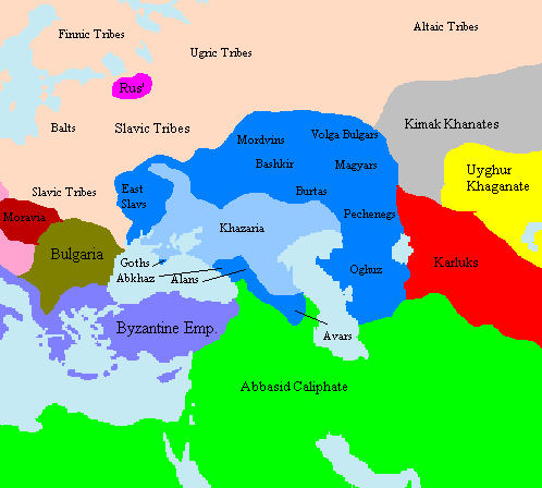 Khazaria and client states. Source: Wikimedia Commons.
